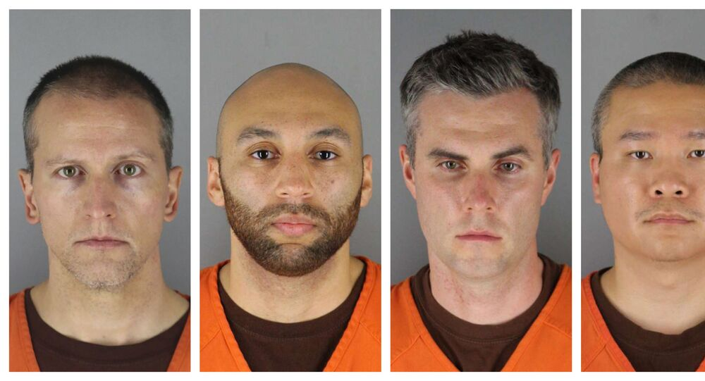 This combination of photos provided by the Hennepin County Sheriff's Office in Minnesota on Wednesday, June 3, 2020, shows Derek Chauvin, from left, J. Alexander Kueng, Thomas Lane and Tou Thao. Chauvin is charged with second-degree murder of George Floyd, a black man who died after being restrained by him and the other Minneapolis police officers on May 25. Kueng, Lane and Thao have been charged with aiding and abetting Chauvin.