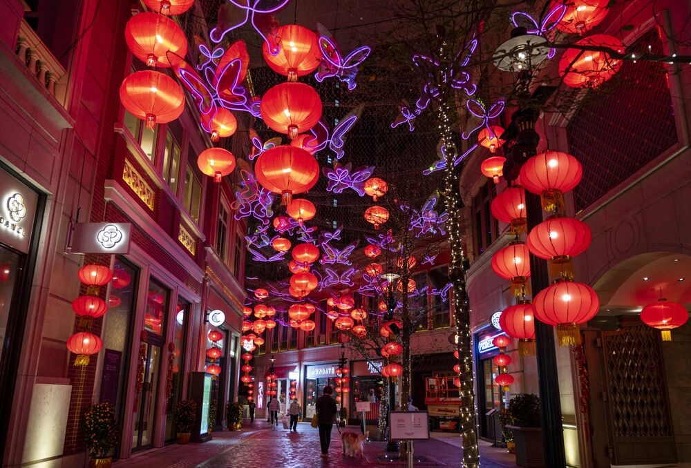 Hundreds of red lanterns light up Li Tong Avenue in Hong Kong ahead of the start of the Lunar New Year.