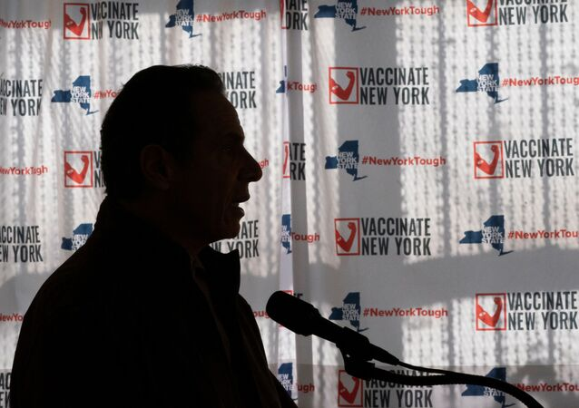 New York Governor Andrew Cuomo speaks to reporters during a news conference at a COVID-19 pop-up vaccination site in William Reid Apartments in Brooklyn, New York City, U.S., January 23, 2021