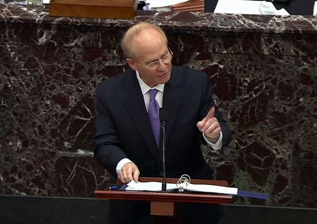 Attorney David Schoen, representing former President Donald Trump, pleads Trump's defense case during the fourth day of the impeachment trial of the former president on charges of inciting the deadly attack on the U.S. Capitol, on Capitol Hill in Washington, U.S., February 12, 2021