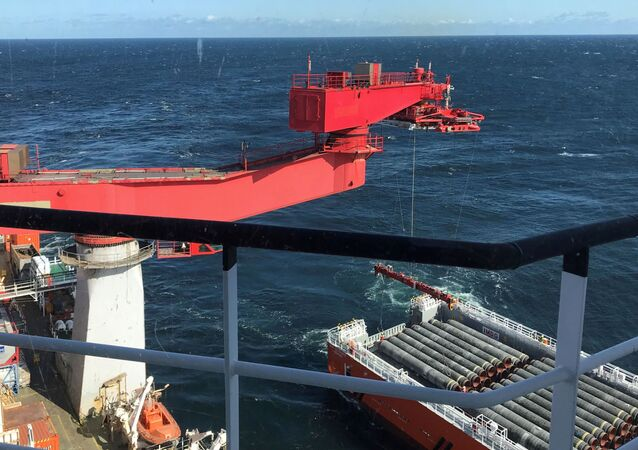 Allseas' deep sea pipe laying ship Solitaire lays pipes for the Nord Stream 2 pipeline in the Baltic Sea, September 13, 2019