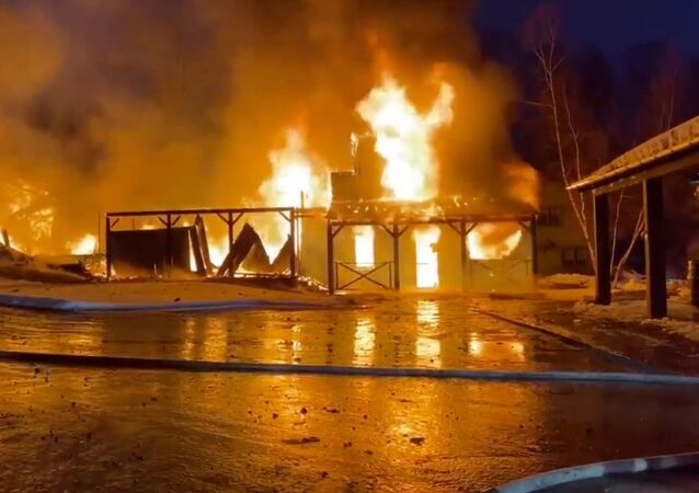 Screenshot captures part of the massive blaze that erupted at the Hole in the Wall Gang Camp in Ashford, Connecticut, on February 12, 2020. The camp was founded in 1988 by the late actor Paul Newman.