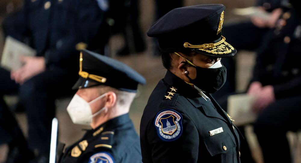 U.S. Capitol Police Acting Chief Yogananda Pittman departs at the conclusion of a Congressional tribute to the late Capitol Police officer Brian Sicknick in the Rotunda of the Capitol in Washington , DC, U.S, February 3, 2021