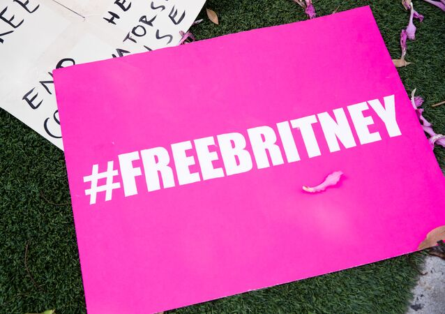 Signs in support of Britney Spears are seen during a #FreeBritney protest