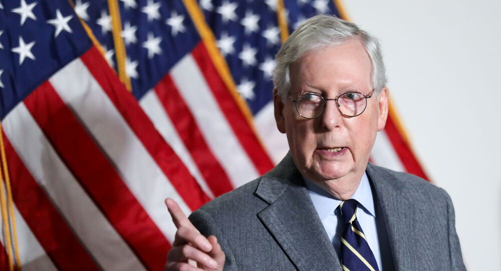 U.S. Senate Minority Leader Mitch McConnell (R-KY) speaks to reporters after the weekly Republican caucus policy luncheon on Capitol Hill in Washington, U.S., January 26, 2021.