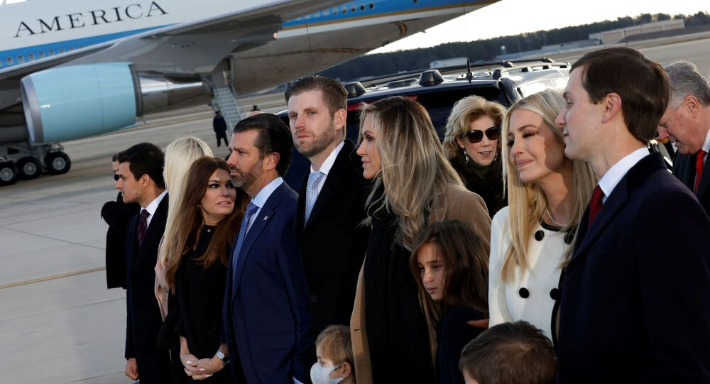 Tiffany Trump, Donald Trump Jr. and his girlfriend Kimberly Guilfoyle, Eric Trump with his wife Lara, and Ivanka Trump and Jared Kushner pose at Joint Base Andrews, Maryland, U.S., January 20, 2021