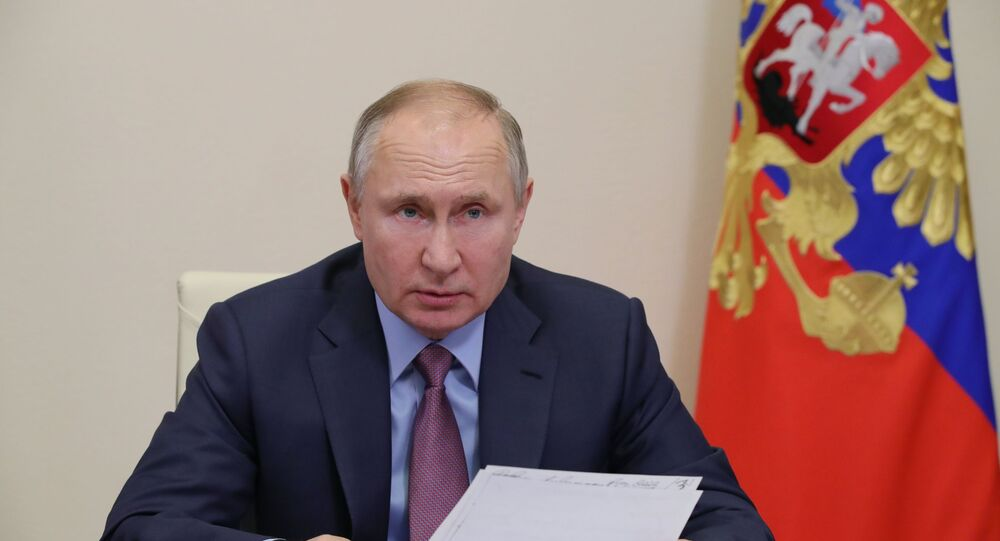 Russian President Vladimir Putin during a video conference with the members of Russian government, 10 February 2021
