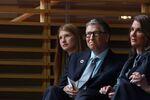 NEW YORK - SEPTEMBER 20: (L-R) Jennifer Gates and her parents, Bill and Melinda Gates, listen to former U.S. President Barack Obama speak at the Gates Foundation Inaugural Goalkeepers event on September 20, 2017 in New York City.