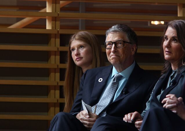 NEW YORK - SEPTEMBER 20: (L-R) Jennifer Gates and her parents, Bill and Melinda Gates, listen to former U.S. President Barack Obama speak at the Gates Foundation Inaugural Goalkeepers event on September 20, 2017 in New York City.