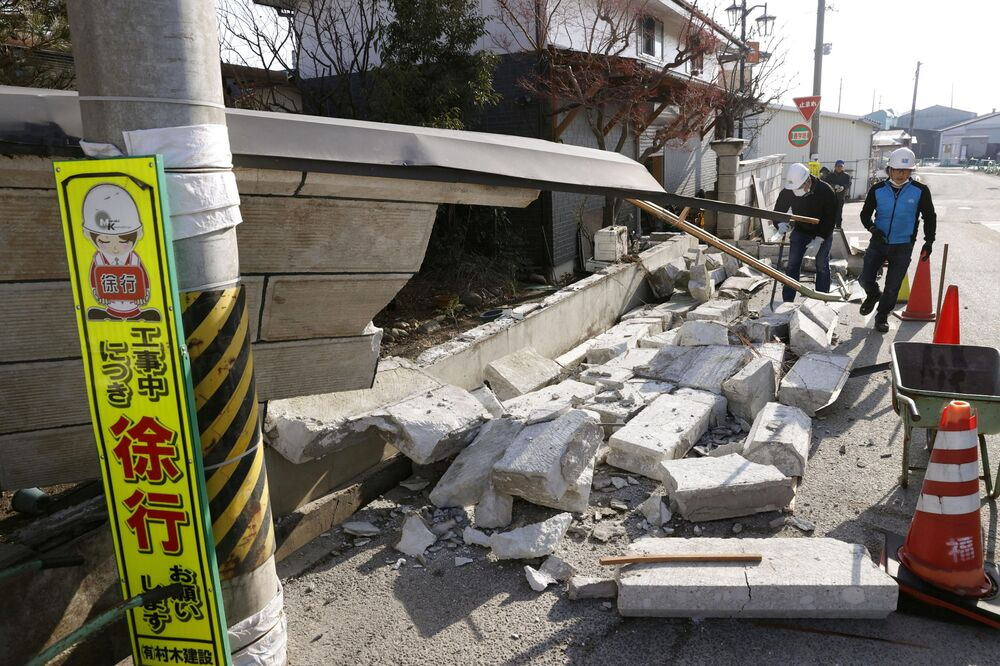 A wall levelled by a strong earthquake is pictured in Kunimi, Fukushima Prefecture, Japan on 14 February 2021 in this photo taken by Kyodo.