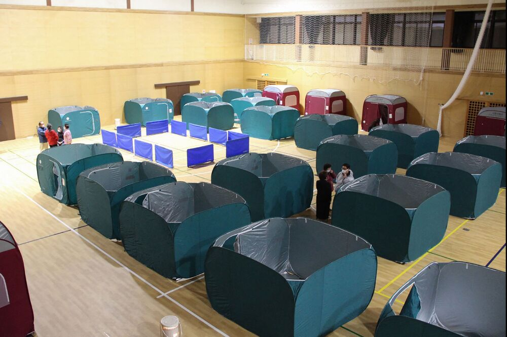 Shelters are set up in a sports arena in Soma, Fukushima Prefecture on 14 February 2021, after a 7.3-magnitude earthquake struck off Japan's east coast on 14 February.