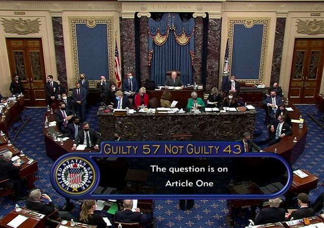The U.S. Senate votes to acquit former U.S. President Donald Trump by a vote of 57 guilty to 43 not guilty, short of the 2/3s majority needed to convict, during the fifth day of the impeachment trial of the former president on charges of inciting the deadly attack on the U.S. Capitol, on Capitol Hill in Washington, U.S., February 13, 2021.  U.S. Senate TV/Handout via Reuters EDITORIAL USE ONLY NO COMMERCIAL SALES     TPX IMAGES OF THE DAY
