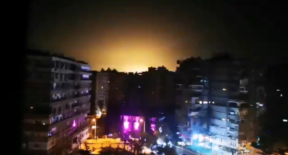 Screenshot from the video allegedly showing the moment of the Israeli aggression in the vicinity of Damascus, 15 February 2020