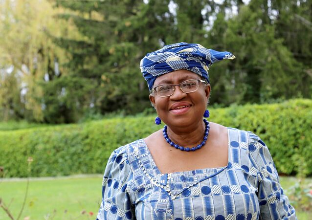 Ngozi Okonjo-Iweala poses outside a Nigerian diplomatic residence in Chambesy, near Geneva, Switzerland, September 29, 2020