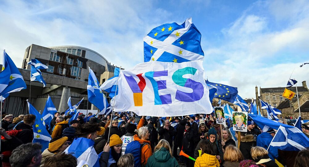 Activists attend an anti-Conservative government, pro-Scottish independence, and anti-Brexit demonstration outside Holyrood, the seat of the Scottish Parliament in Edinburgh on February 1, 2020.