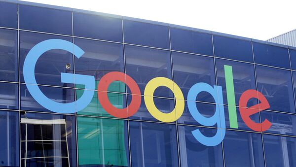 In this Sept. 24, 2019, file photo a sign is shown on a Google building at their campus in Mountain View, Calif. Google is formally pushing back on antitrust claims brought against it by the Justice Department two months ago. - Sputnik International