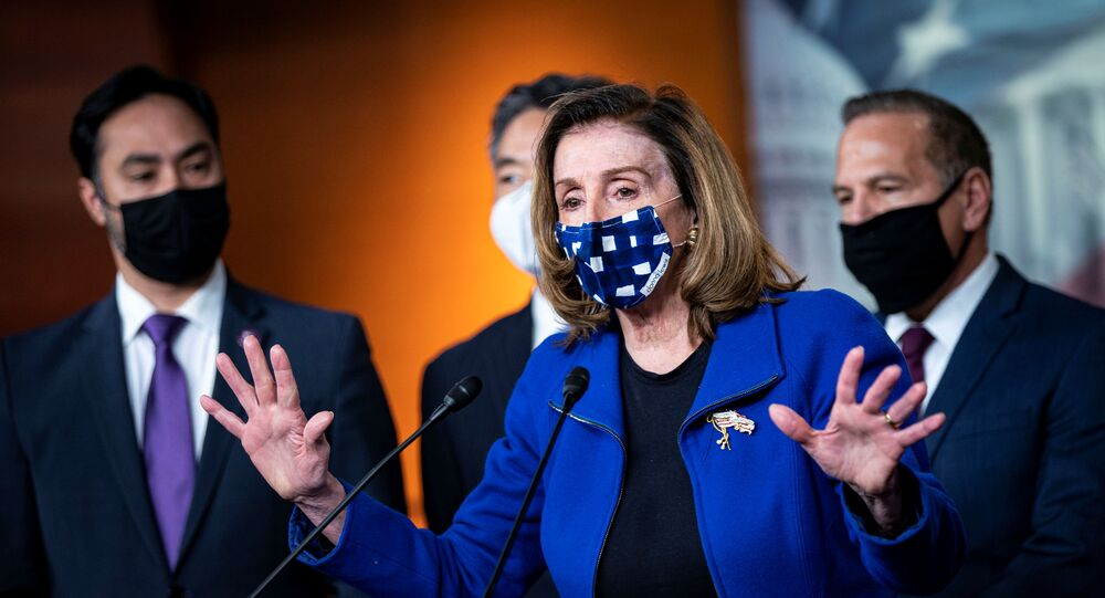U.S. Speaker of the House Nancy Pelosi (D-CA) speaks during a news conference with House impeachment managers on the fifth day of the impeachment trial of former U.S. President Donald Trump, on charges of inciting the deadly attack on the U.S. Capitol, in Washington, U.S., February 13, 2021.