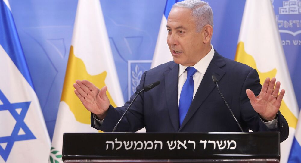 Israeli Prime Minister Benjamin Netanyahu delivers a joint statements with Cypriot President Nicos Anastasiades (not pictured) in Jerusalem February 14, 2021.