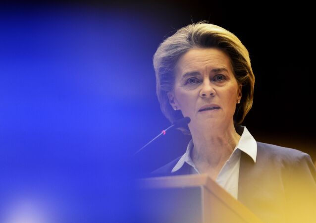 European Commission President Ursula von der Leyen speaks during a debate on the united EU approach to COVID-19 vaccinations at the European Parliament in Brussels, Wednesday, Feb. 10, 2021