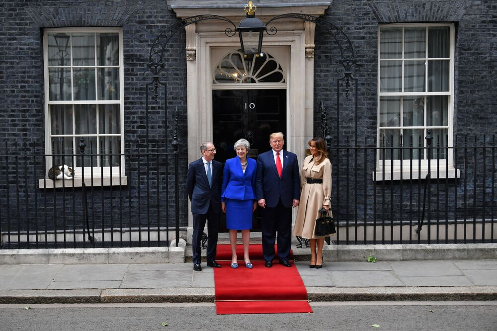 Larry the 10 Downing Street cat rest on the window sill as Britain's Prime Minister Theresa May (2L) and her husband Philip May (L) greet US President Donald Trump (2R) and US First Lady Melania Trump (R) outside 10 Downing Street in London on 4 June 2019, on the second day of their three-day State Visit to the UK.