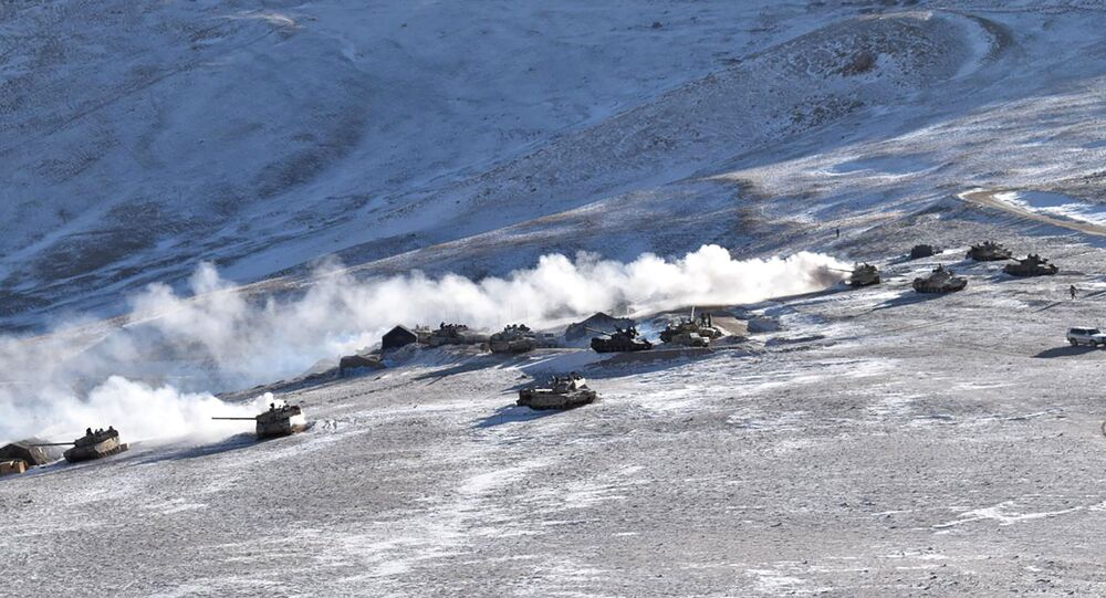 In this photograph provided by the Indian Army, tanks pull back from the banks of Pangong Tso region, in Ladakh along the India-China border on Wednesday, 10 February 2021.