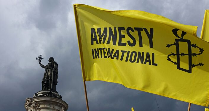 Demonstrators wave Amnesty International flag during a protest in solidarity with migrants at Place de la Republique in Paris on September 5, 2015