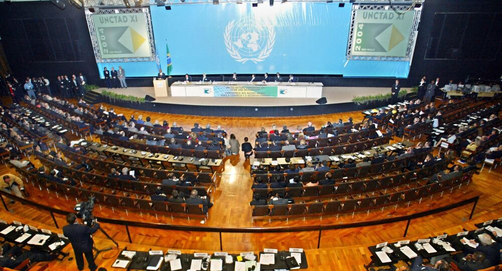 General view of the opening ceremony of the XI UNCTAD (United Nations Trade and Development) conference 14 June 2004 in Sao Paulo, Brazil, with trade ministers from around the world.