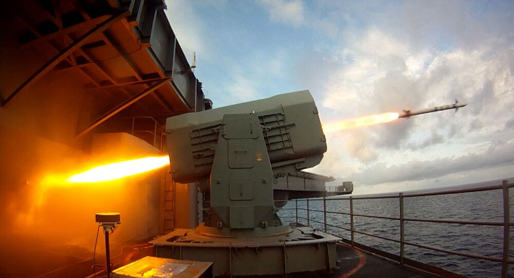 This US Navy photo obtained August 21, 2014 shows the aircraft carrier USS Theodore Roosevelt (CVN 71) as it launches a Rolling Airframe Missile (RAM) on August 19, 2014 in the Atlantic Ocean.