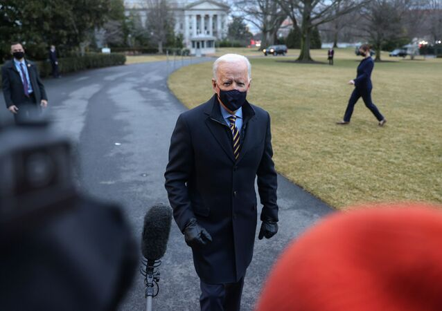 U.S. President Joe Biden speaks to members of the media as he departs for travel to Milwaukee, Wisconsin, from the South Lawn of the White House in Washington, U.S., February 16, 2021.