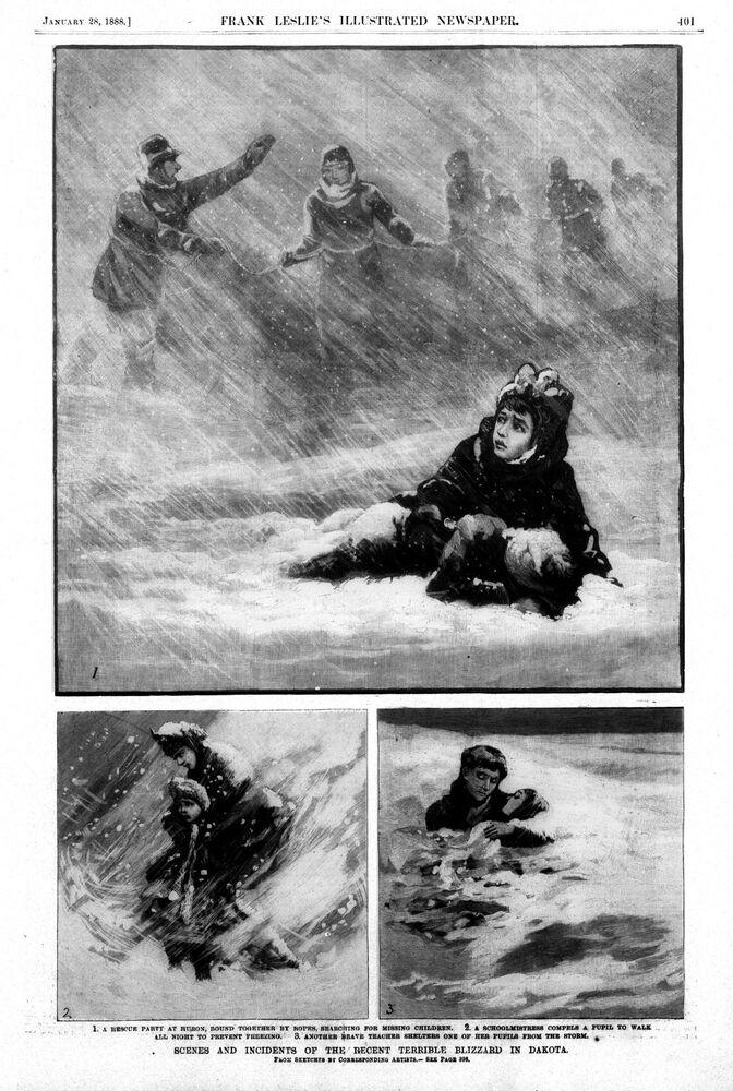 Scenes from a storm in 1888, which devastated Dakota.
