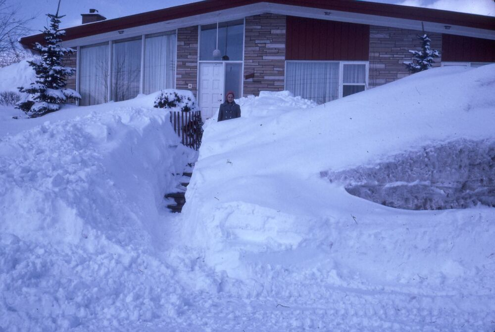 A blizzard in Eastern Canadian in 1971, known as the storm of the century in Duvernay, Laval, Quebec.
