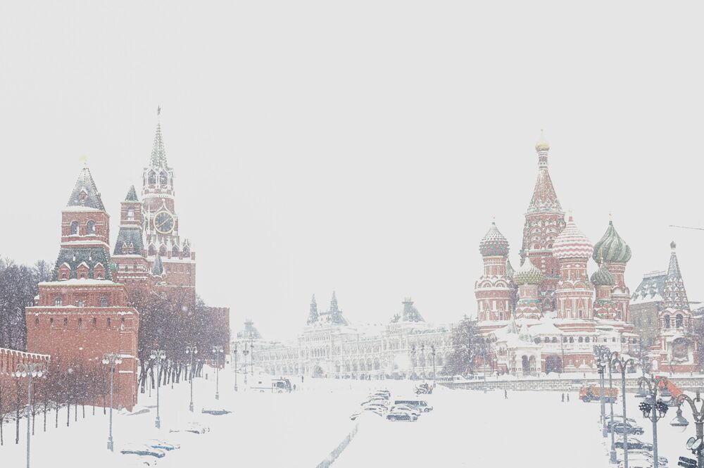 Saint Basil's Cathedral during snowfall, Moscow, Russia.