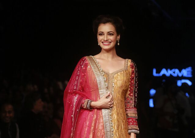 Bollywood actress Dia Mirza poses for photographs during the Lakme Fashion Week in Mumbai, India, Thursday, 27 August 2015.
