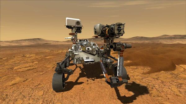 NASA's Perseverance Mars rover, the biggest, heaviest, most advanced vehicle sent to the Red Planet by the National Aeronautics and Space Administration (NASA), is seen on Mars in an undated illustration provided by Jet Propulsion Laboratory in Pasadena, California - Sputnik International
