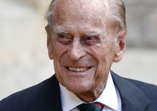 Britain's Prince Philip (C), Duke of Edinburgh takes part in the transfer of the Colonel-in-Chief of The Rifles at Windsor castle in Windsor on July 22, 2020
