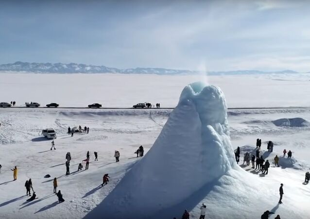 Ice volcano | Frozen 'eruption' appears in Kazakh steppe