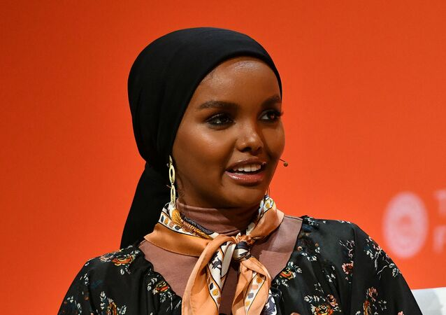 Halima Aden speaks onstage during the 2020 Embrace Ambition Summit by the Tory Burch Foundation at Jazz at Lincoln Center on March 05, 2020 in New York City