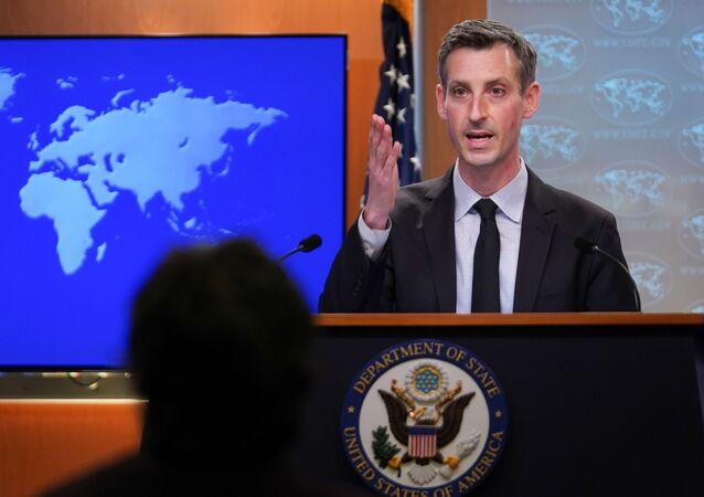 U.S. State Department Spokesman Ned Price speaks to reporters during a news briefing at the State Department in Washington, U.S., February 17, 2021.