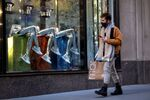 A man shops, during the coronavirus disease (COVID-19) pandemic, on 5th Avenue in New York, U.S., February 17, 2021.