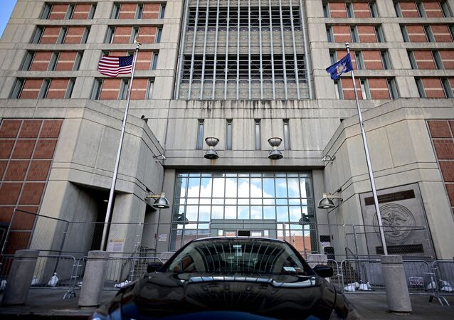 A car is seen in front of the Metropolitan Detention Center, (MDC) in Brooklyn, a United States federal administrative detention facility on July 14, 2020 in New York City.