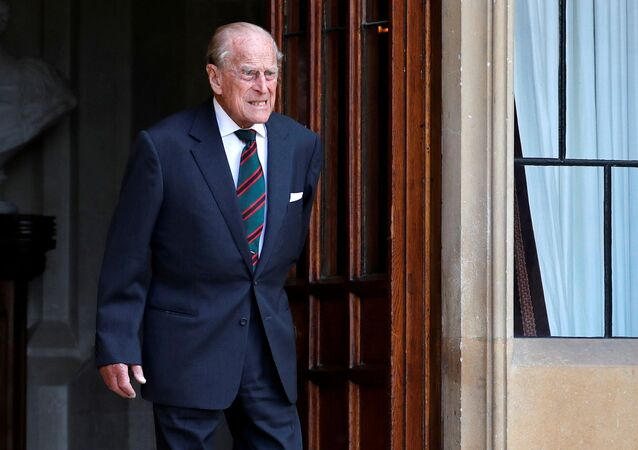 Britain's Prince Philip arrives for the transfer of the Colonel-in-Chief of the Rifles at Windsor Castle in Britain 22 July 2020