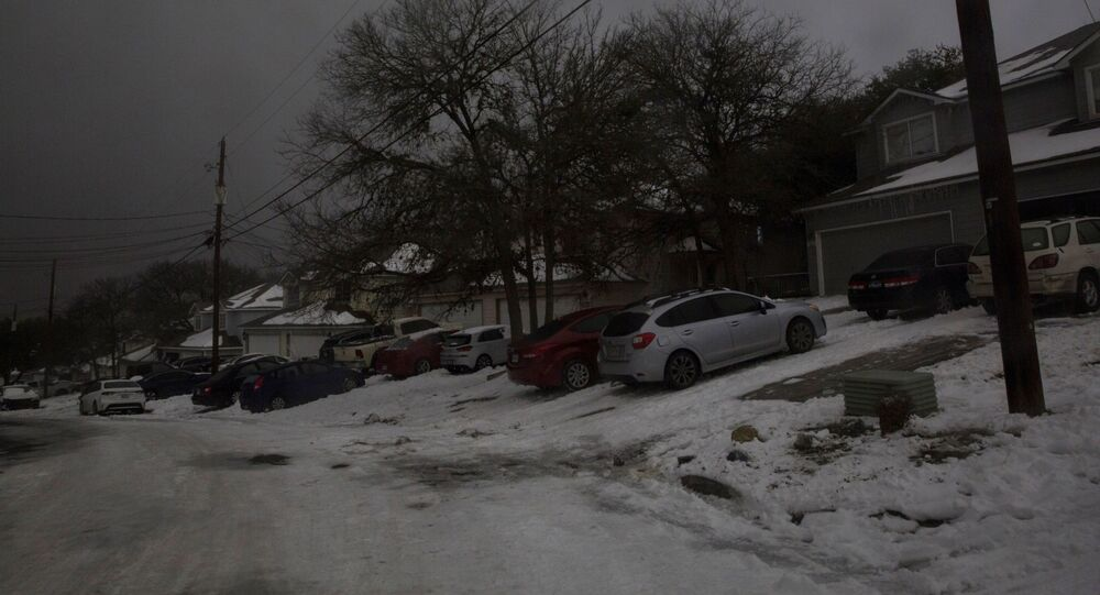 A neighborhood experiences a power outage after winter weather caused electricity blackouts in San Marcos