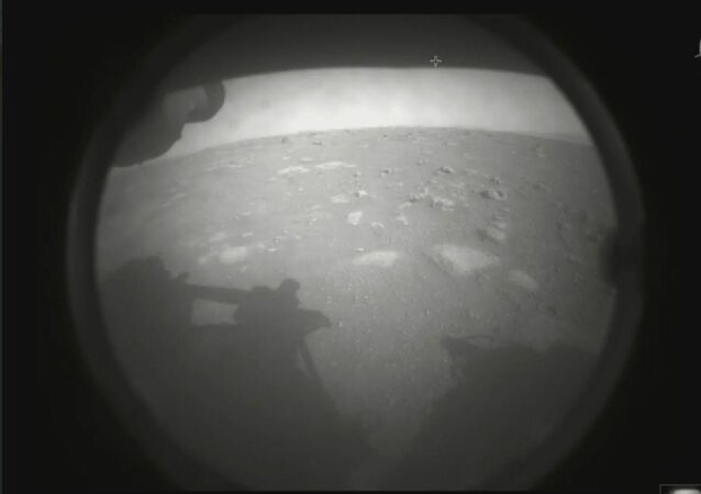 Image released by the US' National Aeronautics and Space Administration marks the very first photo snapped by the Perseverance rover after its historic landing on the distant red planet on February 18, 2021.