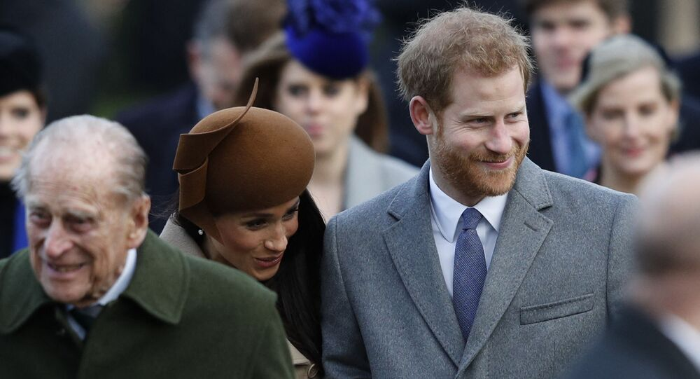 Britain's Prince Philip, Duke of Edinburgh, US actress and fiancee of Britain's Prince Harry Meghan Markle and Britain's Prince Harry arrive to attend the Royal Family's traditional Christmas Day church service at St Mary Magdalene Church in Sandringham, Norfolk, eastern England, on December 25, 2017.