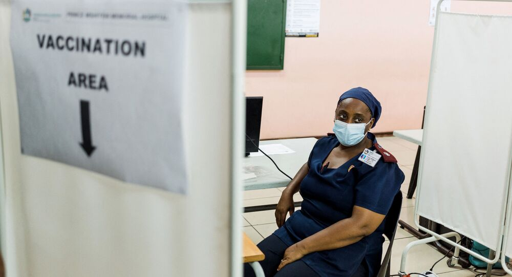 A nurse awaits to receive a dose of the Johnson & Johnson vaccine against the COVID-19 coronavirus as South Africa proceeds with its inoculation campaign at the Prince Mshiyeni Hospital in Umlazi, south of Durban on February 18, 2021.