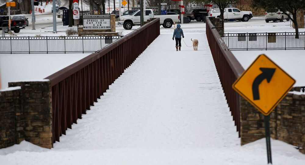 Anna Thomasson walks her dog, Penny, across the White Rock Lake Spillway after winter weather caused electricity blackouts in Dallas