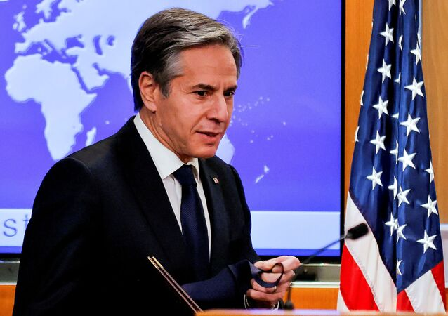 U.S. Secretary of State Antony Blinken begins his first press briefing at the State Department in Washington, U.S., January 27, 2021.