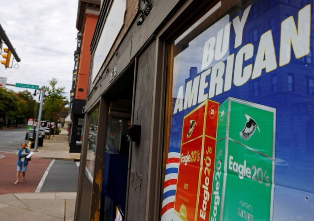 A sign reads Buy American in shop window in the Northampton County city of Easton, Pennsylvania, U.S., October 1, 2020