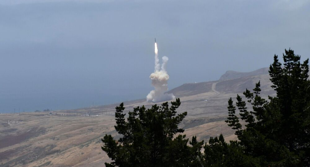 A long-range ground-based interceptor launches from Vandenberg Air Force Base, California, 30 May 2017.