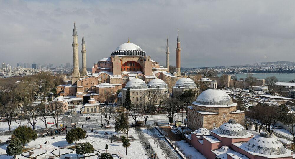 Drone footage shows Ayasofya-i Kebir Camii or Hagia Sophia Grand Mosque during a snowy day in Istanbul, Turkey, February 17, 2021.